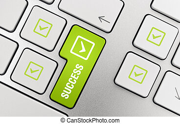 Success Key Concept - Button with success text and check...