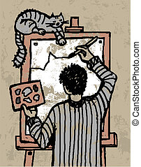 Artist and cat.