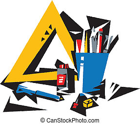 business tools The still life with business tools Vector...