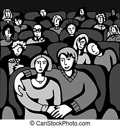 People in Cinema The medium group of different adult people...