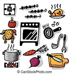 Cooking objects - Isolated on the white background Color...