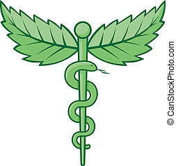 Caduceus with leaves - Single snake caduceus with mint...
