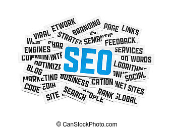 SEO Sign - Cut pieces of paper with text on SEO theme...