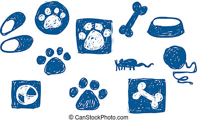Petu2019s stuff Set of doodle icons with different petu2019s...