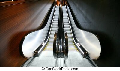 Close-up of empty escalator - Close-up of empty modern...