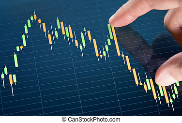 Touching Stock Market Chart - Touching stock market graph on...