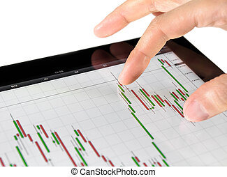 Touching Stock Market Chart - Using touch screen tablet for...