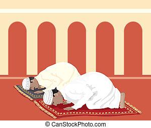muslims praying - an illustration of two muslims praying on...