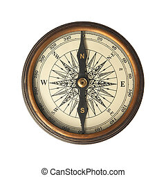 Antique Compass isolated on white.