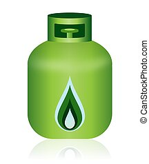 Green Natural Gas Bottle Icon - This illustration features...