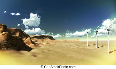 Dry desert with time lapse clouds and windmills wide angle