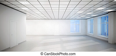 big empty white room office with three windows