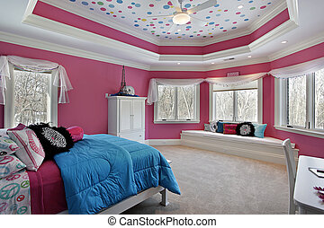Girls bedroom with pink walls - Girls bedroom in luxury home...