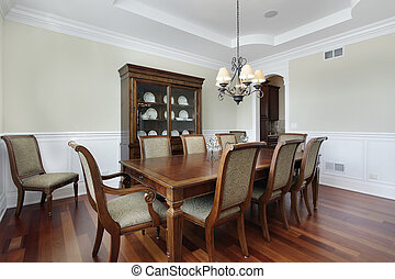 Dining room with view into pantry