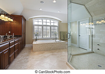 Large master bathroom - Large master bath with spacious...