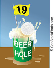 golf - Beer 19th hole on golf course illustration....