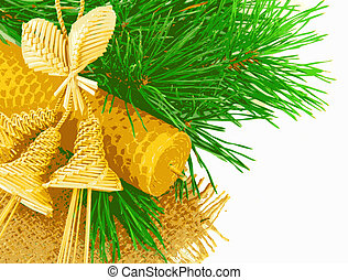 Straw hand bells, candle and fir-tree branch, New Year\'s...