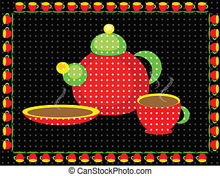 Background with tea set - Black background with tea set