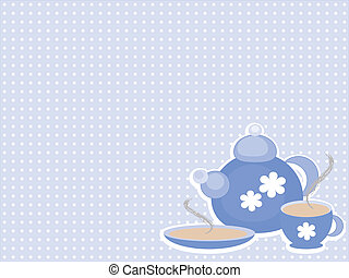 Background with tea set - Blue background with tea set