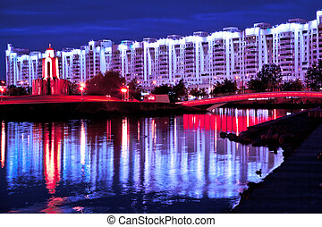 Minsk in the night - Night view of historical center of...