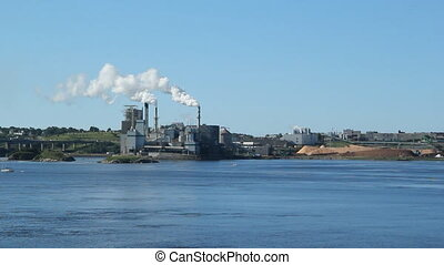 Pulp and Paper mill. - Pulp and paper factory across the...