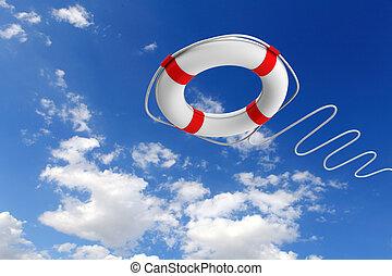 salvamento, anel, contra, arranha-céus