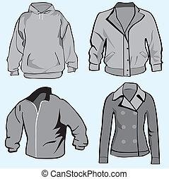 ジャケット, hoodie, セット, テンプレート