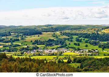 Aerial view of Hawkshead village - An aerial view of...