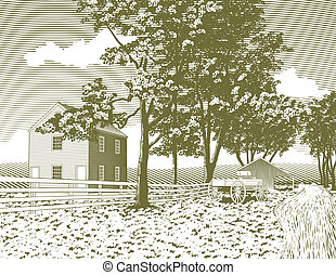 Woodcut Shaker Village - Woodcut style illustration of a...