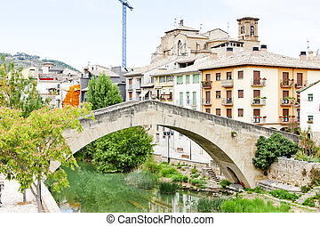 San Miguel church with bridge Puente de la Carcel, Estella,...