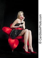 il portare, donna, giovane, vetro, nero, vestire, rosso, vino