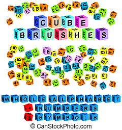 cube brushes alphabet numbers