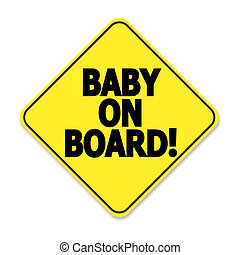 Baby on board, yellow and black sticker for car