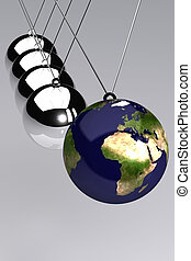 Newtons Cradle Europe - A Colourful 3d Rendered Newtons...