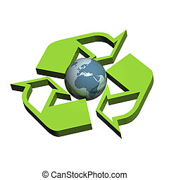 Recycle Symbol Europe - A Colourful 3d Rendered Recycle...