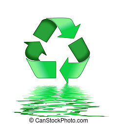 Recycle Sign Reflections - A Colourful 3d Rendered Recycle...
