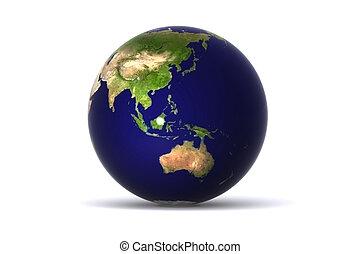 Australia Globe - A Colourful 3d Rendered Earth Globe...