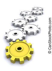 Teamwork Cogs - A Colourful 3d Rendered Teamwork / Cogs...