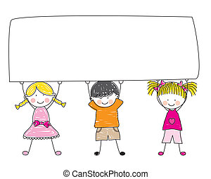 Group of Kids - A Small Group of Kids Holding a Giant Blank...