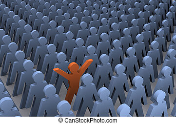 "Standing Out - A Colourful 3d Rendered ""Standing out from..."