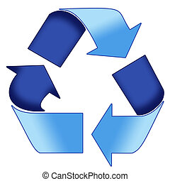 Blue Recycle Symbol - A Colourful Blue 3d Recycle Symbol...