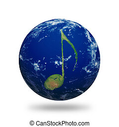 Music Note Earth Outlined