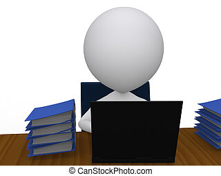 3D busy business man with a pile of work on his desk -...