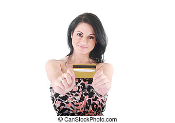 Close-up portrait of young female holding credit card isolated on white background. Focus on woman