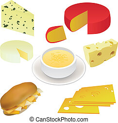 cheese set - swiss cheese, edam cheese, sandwich, cheese...