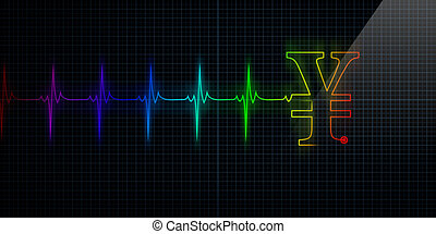 Colorful Heartbeat Monitor with Japanese Yen or Chinese Yuan