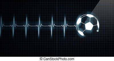 Heartbeat Monitor with soccer ball - Horizontal Pulse Trace...