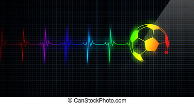 Colorful Heartbeat Monitor with soccer ball - Colorful...