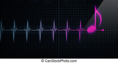 Heart Monitor with Pink Music Note