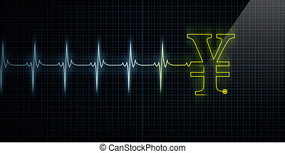 Heartbeat Monitor with Yellow Japanese Yen or Chinese Yuan